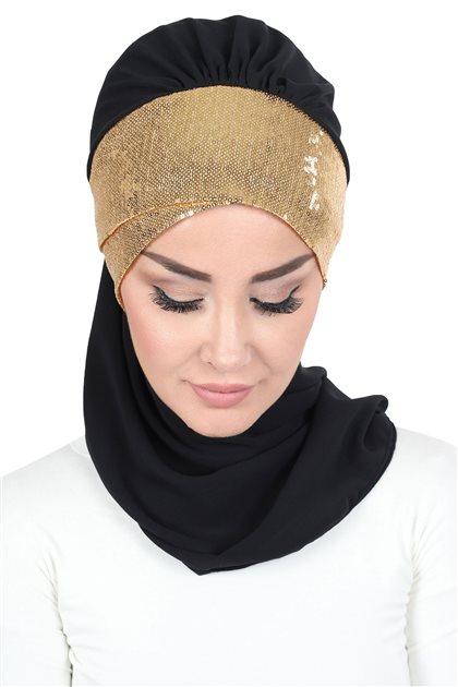 Ayşe Tasarim Scarf-Black-Gold HT-0054-14-GO