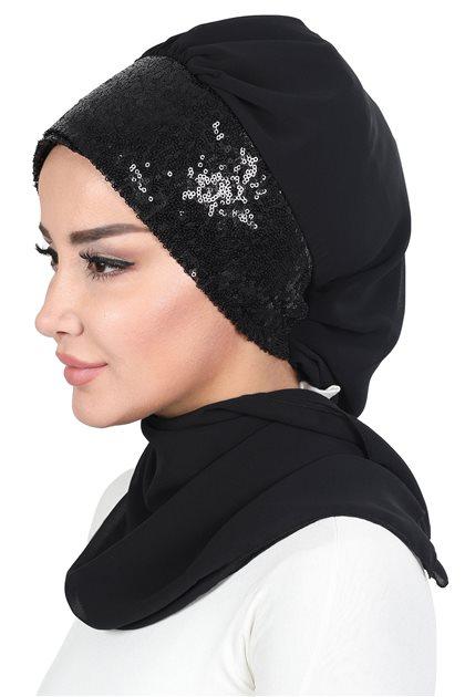 Ayşe Tasarim Scarf-Black-Black HT-0054-14-S