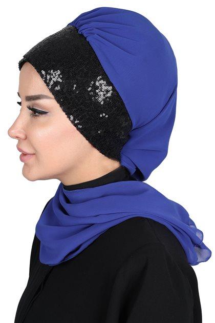Ayşe Tasarim إيشارب-أزرق غامق-أسود HT-0054-16-S