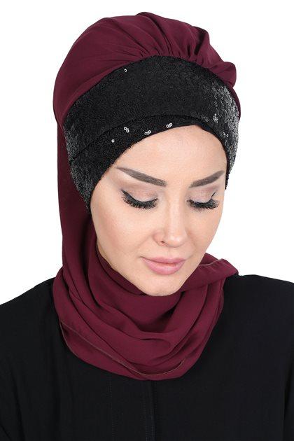 Ayşe Tasarim Scarf-Plum-Black HT-0054-18-S