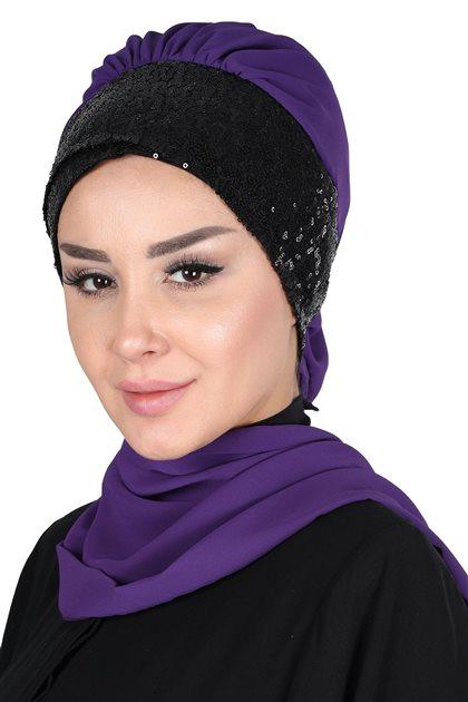 Ayşe Tasarim Scarf-Purple-Black HT-0054-20-S