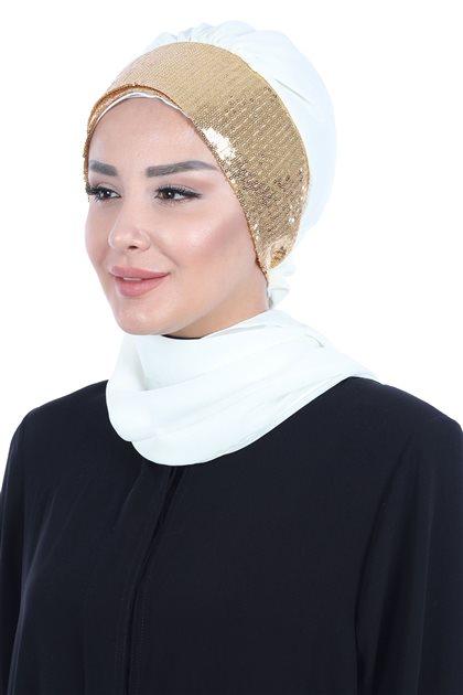 Ayşe Tasarim إيشارب-كريمي-ذهبي HT-0054-22-G