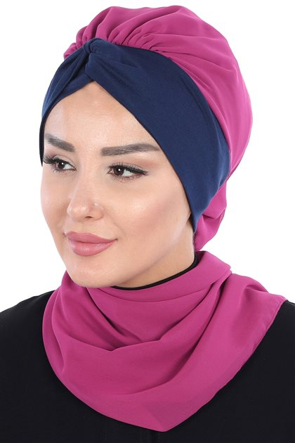 Ayşe Tasarim إيشارب-فوشي-كحلي HT-0055-1-1