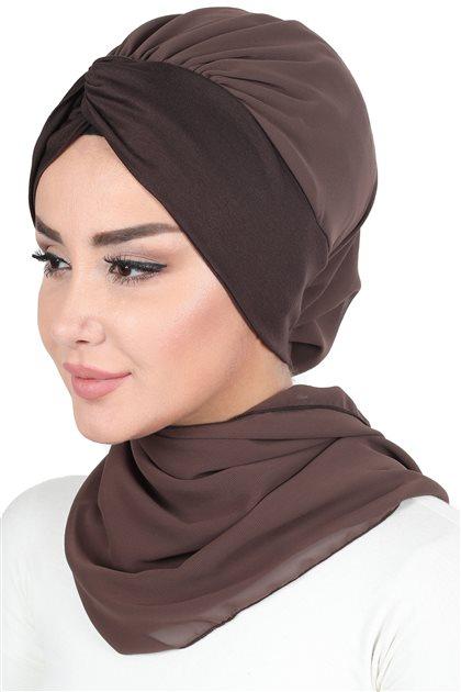 Ayşe Tasarim إيشارب-بني-بني HT-0055-6-5
