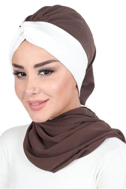 Ayşe Tasarim إيشارب-بني-كريمي HT-0055-6-8