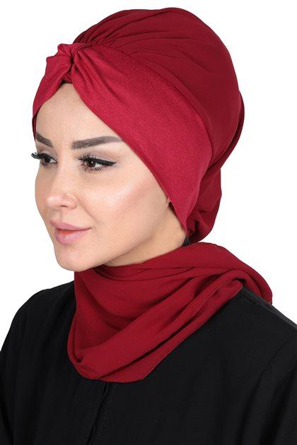 Ayşe Tasarim Scarf-Claret Red-Claret Red HT-0055-7-3
