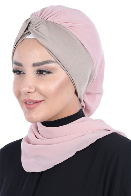 Ayşe Tasarim إيشارب-لون البودرة-بني مينك HT-0055-11-2