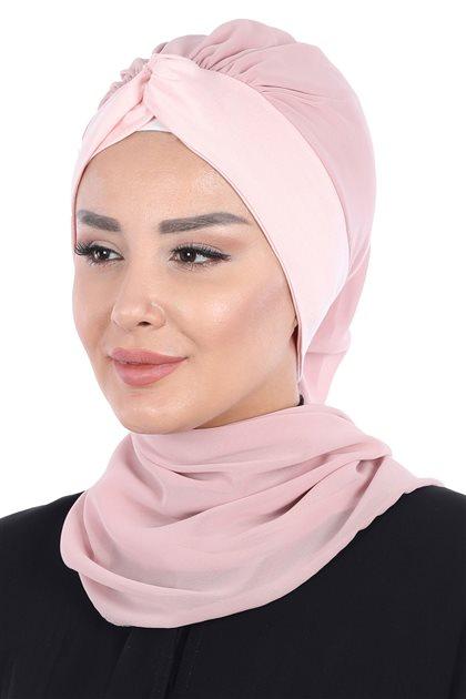 Ayşe Tasarim إيشارب-لون البودرة-لون البودرة HT-0055-11-7