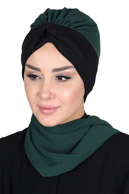 Ayşe Tasarim Scarf-Dark Green-Black HT-0055-12-6