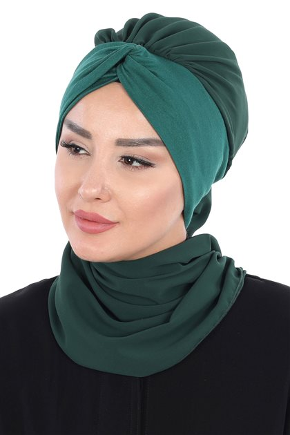Ayşe Tasarim Scarf-Dark Green-Dark Green HT-0055-12-15