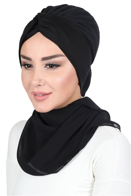 Ayşe Tasarim Scarf-Black-Black HT-0055-14-6