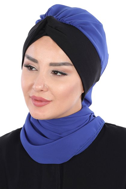 Ayşe Tasarim إيشارب-أزرق غامق-أسود HT-0055-16-6