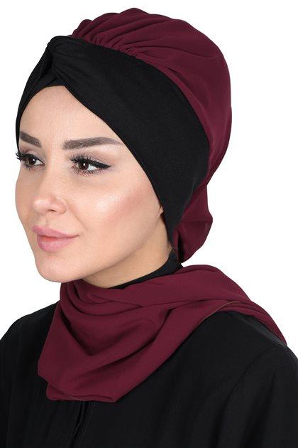 Ayşe Tasarim إيشارب-أرجواني-أسود HT-0055-18-6