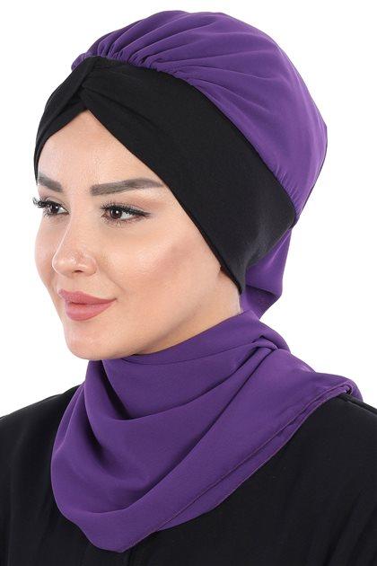 Ayşe Tasarim Scarf-Purple-Black HT-0055-20-6