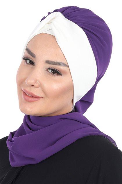 Ayşe Tasarim إيشارب-أرجواني-كريمي HT-0055-20-8