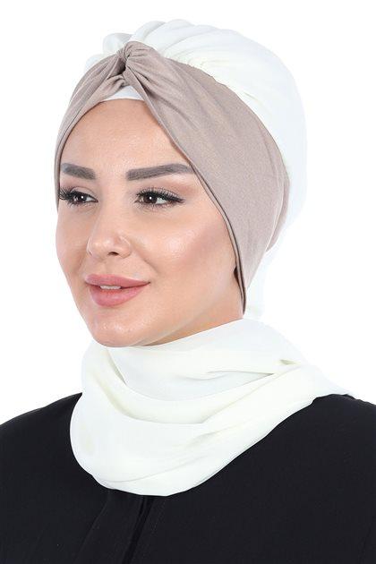 Ayşe Tasarim إيشارب-كريمي-بني مينك HT-0055-22-2