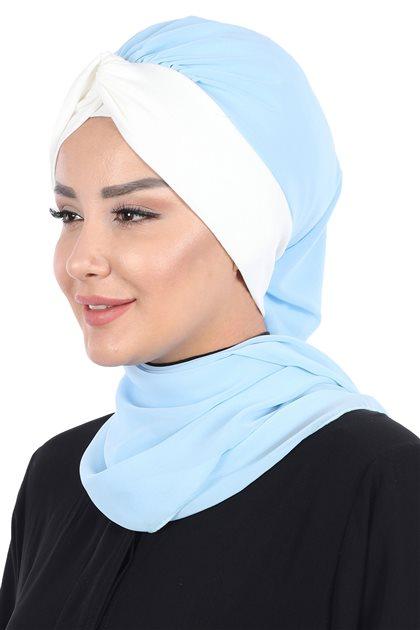 Ayşe Tasarim إيشارب-أزرق الرّضّع-كريمي HT-0055-27-8