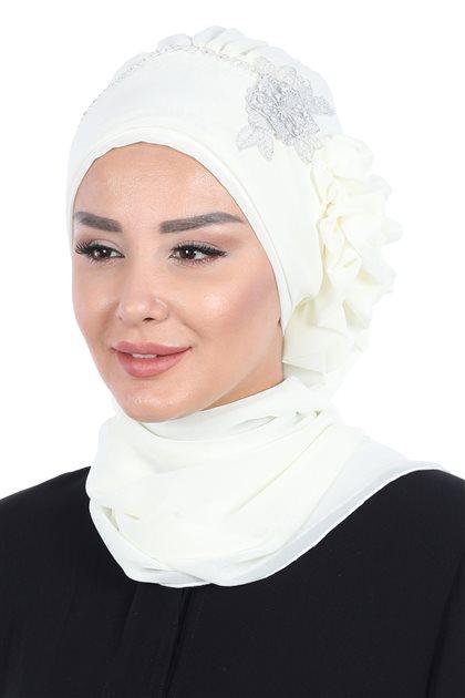 Ayşe Tasarim إيشارب-كريمي HT-0062-22