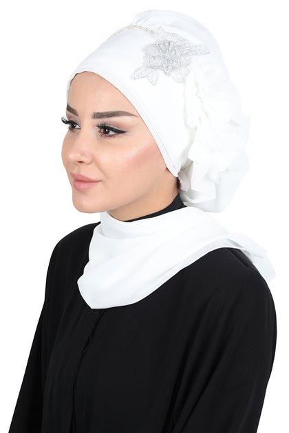 Ayşe Tasarim إيشارب- أبيض HT-0062-24