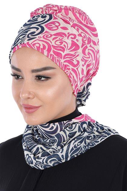 Ayşe Tasarim إيشارب-كحلي-فوشي HT-0064-23-10