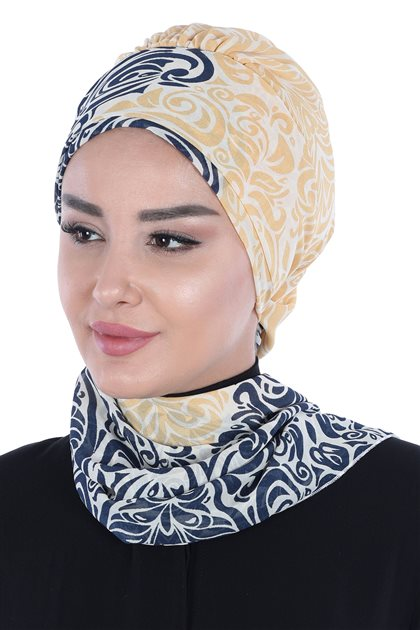 Ayşe Tasarim Scarf-Navy Blue-Yellow HT-0064-23-S