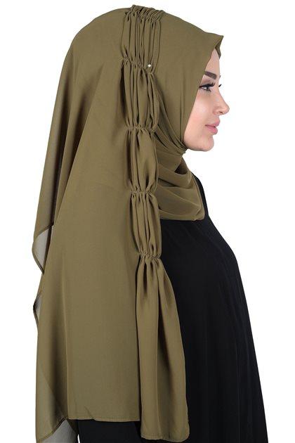 Ayşe Tasarim Shawl-Khaki Greeni PS-101-17