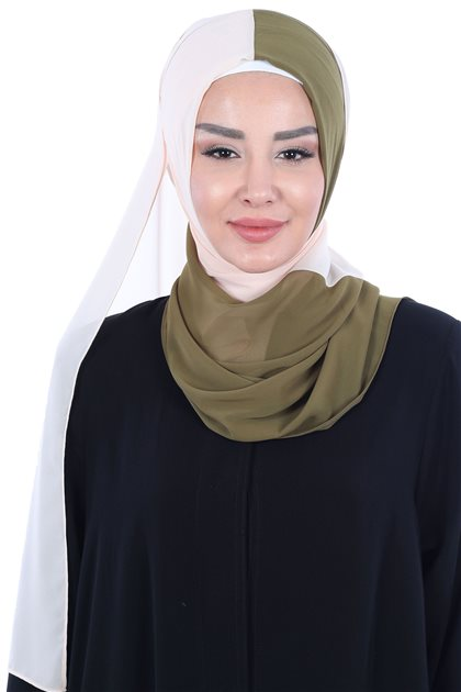 Ayşe Tasarim Shawl-Khaki Greeni-Beige PS-102-17-5