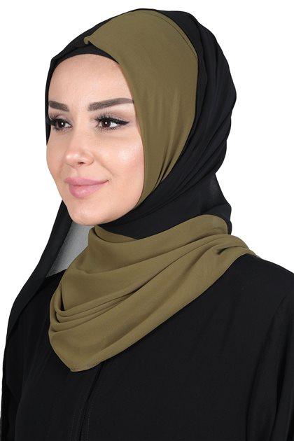 Ayşe Tasarim Shawl-Khaki Greeni-Black PS-102-17-14