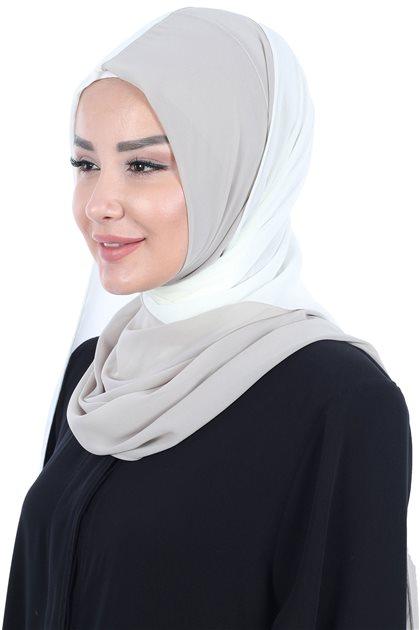 Ayşe Tasarim شال-كريمي-بني مينك PS-102-22-4