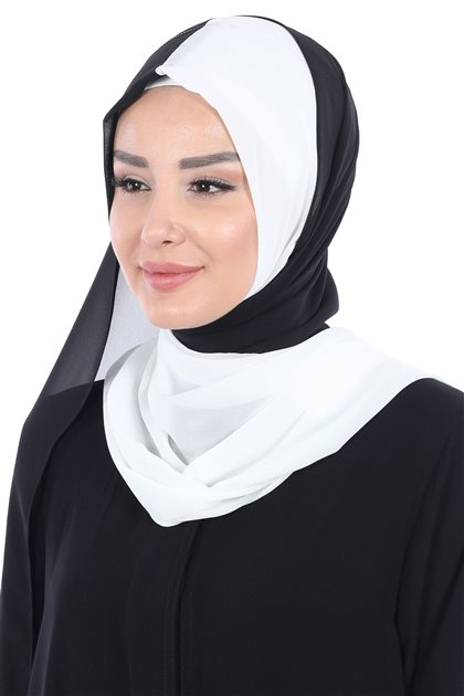 Ayşe Tasarim Shawl-White-Black PS-102-24-14