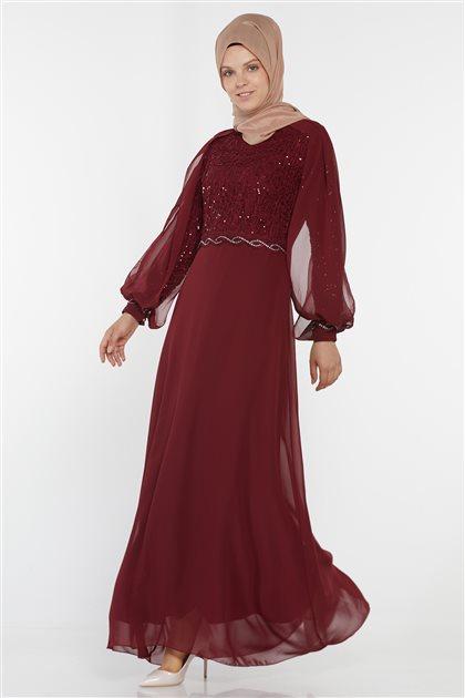 Evening Dress-Claret Red UN-52736-67