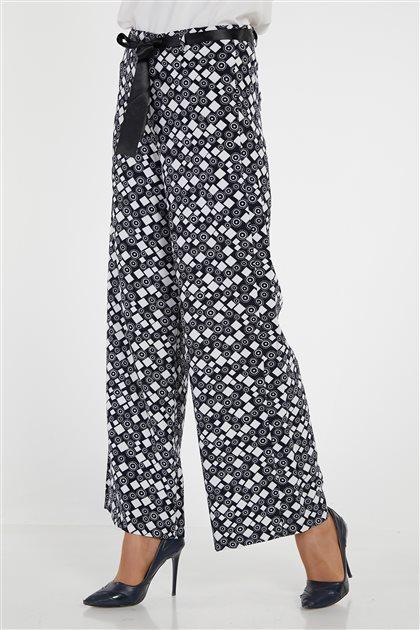 Pants-Navy Blue White 9001-1-2-1702