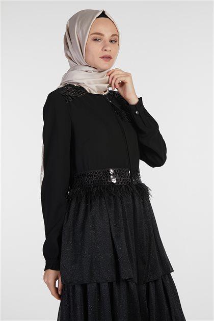 İnci Pardesü-Siyah 719YPRD70203-01