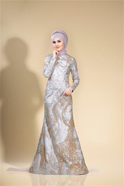 Sim Fish Evening Dress Gray