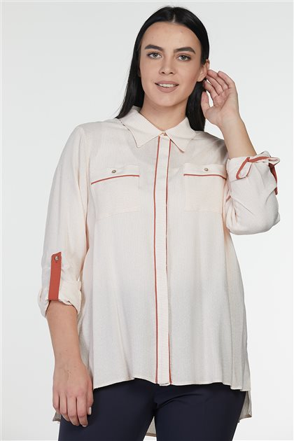 Blouse-Ecru Orange-Pink KA-B9-10112-3568
