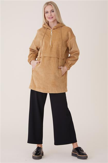 Velvet Fermuarlı Sweatshirt-Bej 20944-11