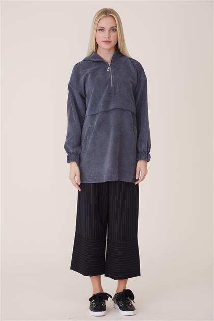 Velvet Fermuarlı Sweatshirt-Antrasit 20944-50