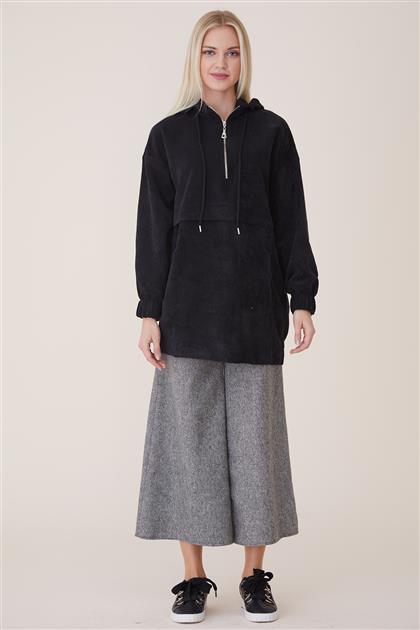 Velvet Fermuarlı Sweatshirt-Siyah 20944-01