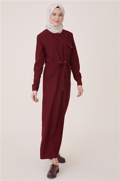 Kışlık Kadife Elbise-Bordo PL-9W524-67
