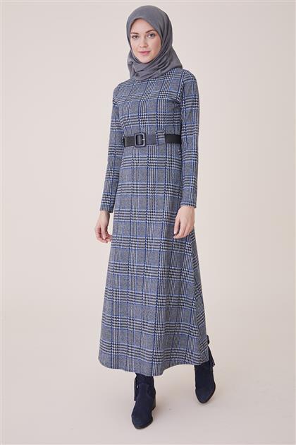 Ekose İnce Çizgili Elbise-Mavi PL-9W203-2-70