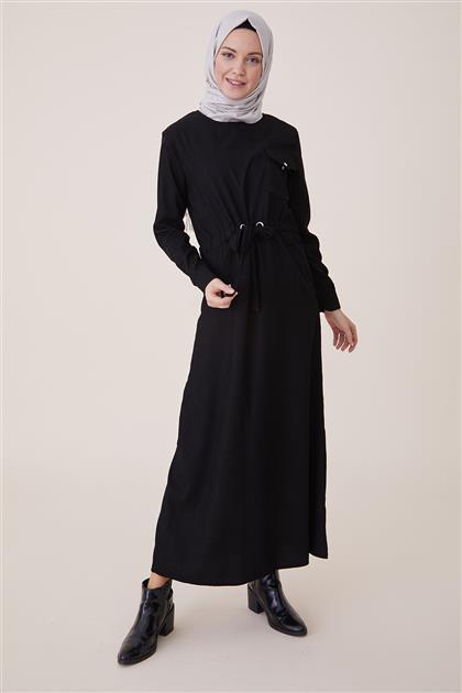 Kışlık Kadife Elbise-Siyah PL-9W524-01