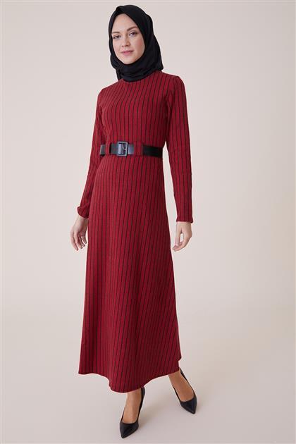 Dikey Çizgili Elbise-Bordo PL-9W203-67