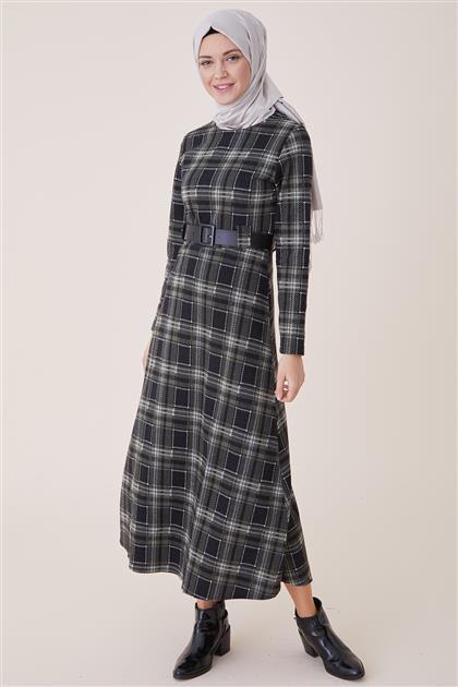 Ekose Kalın Çizgili Elbise-Yeşil PL-9W203-1-21