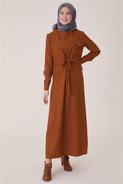 Kışlık Kadife Elbise-Hardal PL-9W524-55