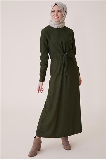 Kışlık Kadife Elbise-Haki PL-9W524-27