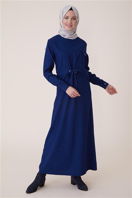 Kışlık Kadife Elbise-İndigo PL-9W524-83