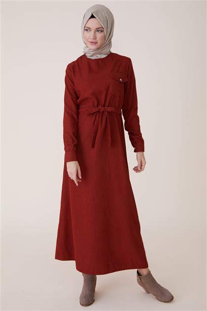 Kışlık Kadife Elbise-Kiremit PL-9W524-58