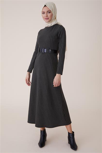 Dikey Çizgili Elbise-Yeşil PL-9W203-21