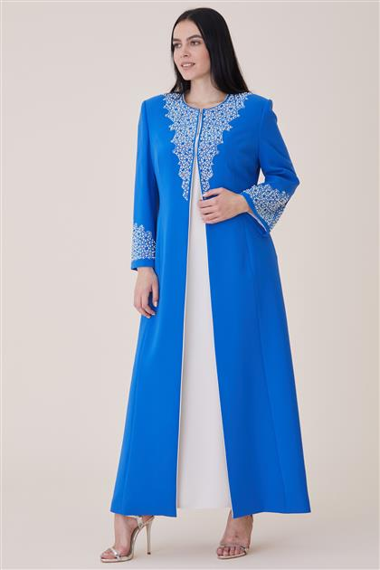 Elbiseli Kaftan-Mavi 19K165-70