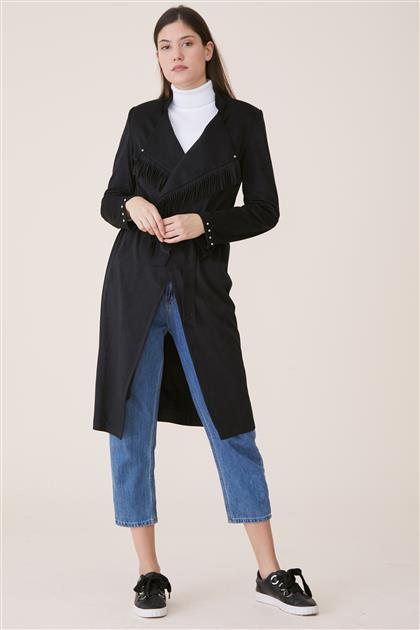 Şal Yaka Püsküllü Ceket-Siyah 19K2133-01